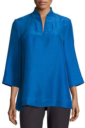 Eileen Fisher Plus Size 3/4-Sleeve High-Collar Doupioni Silk Blouse