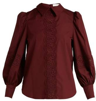 See by Chloe Broderie Anglaise Cotton Poplin Blouse - Womens - Burgundy