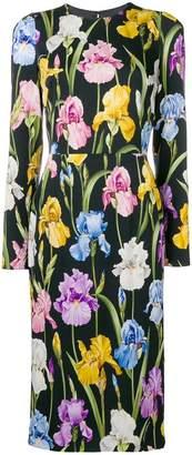 Dolce & Gabbana iris-print charmeuse midi dress