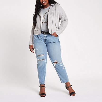 Womens Plus light Grey faux suede biker jacket