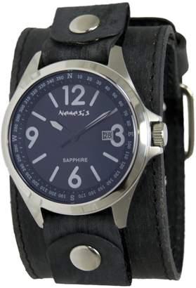 Nemesis Men's 'Sapphire' Quartz Stainless Steel and Leather Casual Watch, Color:Black (Model: FLBB251L)