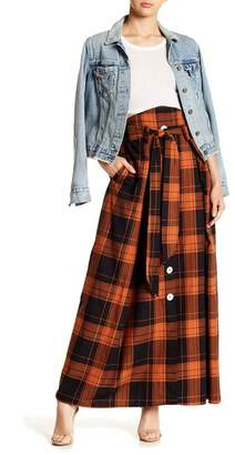 TOV Plaid Double Pocket Tie Front Skirt