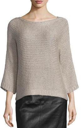 Eileen Fisher Fisher Project 3/4-Sleeve Hand-Knit Box Top $498 thestylecure.com