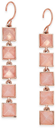 Vera Bradley Rose Gold-Tone Pink Stone Drop Earrings $44 thestylecure.com
