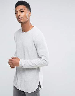 ONLY & SONS Longline Waffle Knitted Sweater