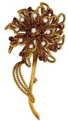 18K Ruby & Diamond Floral Brooch
