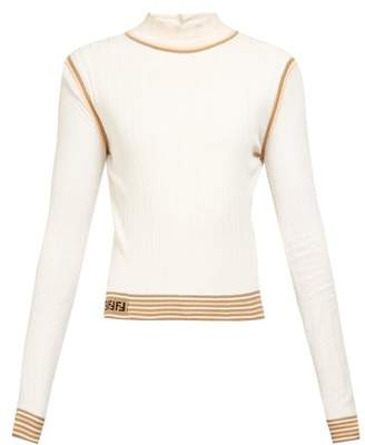 Fendi Mesh Sleeve Knitted Silk Top - Womens - White