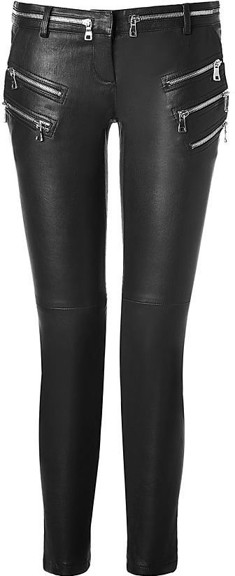 BALMAIN Black Leather Pants