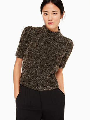 Kate Spade Metallic Texture Sweater, Black/Gold - Size XL