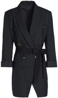 Brunello Cucinelli Double-Breasted Belted Wool Blazer