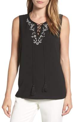 Chaus Embroidered Sleeveless Blouse