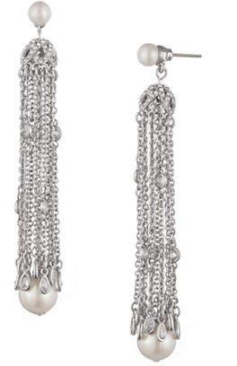 Carolee Faux Pearl Chain Tassel Earrings