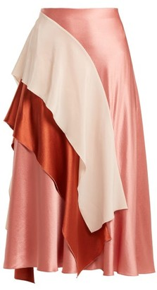 Roksanda Mahria Asymmetric Silk Satin Skirt - Womens - Pink Multi
