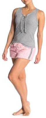 Couture PJ Lace-Up Tank Metallic Stripe Short Pajama 2-Piece Set