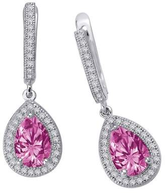 Lafonn Platinum Plated Sterling SIlver Simulated Diamond & Lab-Grown Pink Ruby Drop Earrings