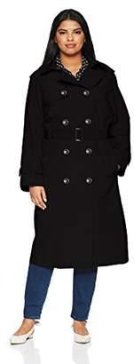 London Fog Women's Midi-Length Plus Size Trench Coat