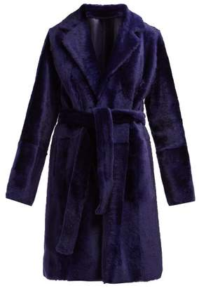 Yves Salomon Lacon Shearling Coat - Womens - Blue