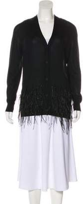 Lanvin Ostrich Feather-Trimmed Silk Cardigan Black Ostrich Feather-Trimmed Silk Cardigan