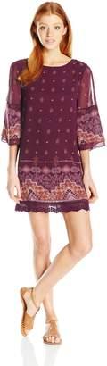 Jolt Women's Cold Shoulder Dress with Boho Print