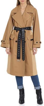 AVEC LES FILLES Colorblock Cotton Trench Coat w\/ Faux-Leather Belt