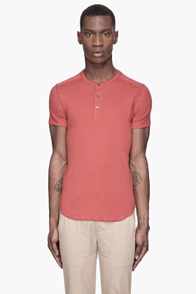 Wings + Horns Rust red classic Henley T-shirt