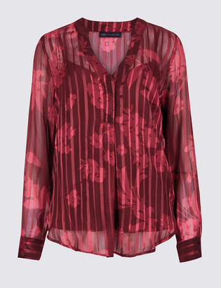 M&S Collection Striped Floral Popover Long Sleeve Blouse
