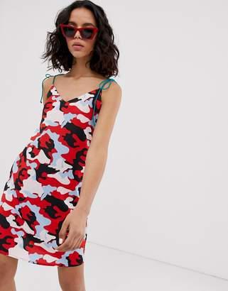 Noisy May camo mini dress with contrast ties