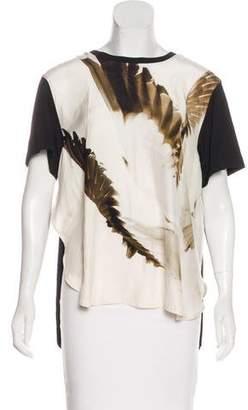 Barbara Bui Short Sleeve Silk-Paneled Top