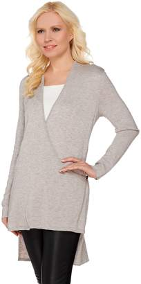 Halston H By H by Hi-Low Wrap Front Long Sleeve Cardigan