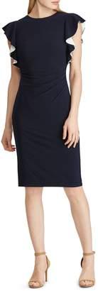 Lauren Ralph Lauren Contrast Flutter-Sleeve Shift Dress