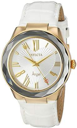 Invicta Women's 'Angel' Quartz Stainless Steel and Leather Casual Watch