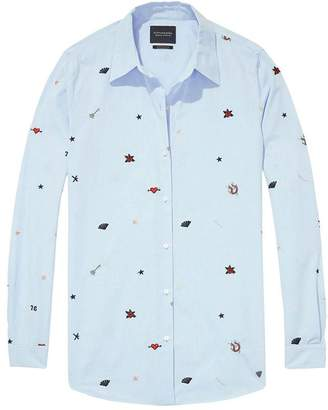 Maison Scotch Patched Button Down Shirt