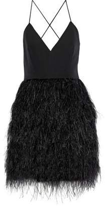 Milly Open-Back Feather-Embellished Crepe Mini Dress