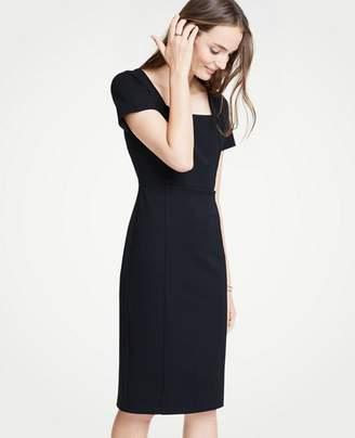 Ann Taylor Petite Square Neck Ponte Sheath Dress