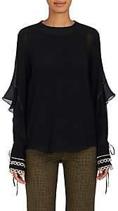 Chloé Women's Silk Crepe Layered-Sleeve Blouse-Black
