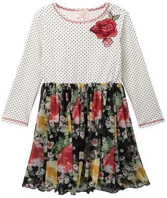Pink Vanilla Polka-Dot & Floral Long Sleeve Dress (Toddler & Little Girls)