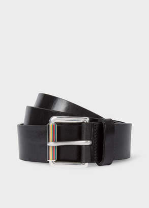 Paul Smith Men's Black Leather Belt With Signature Stripe Roller