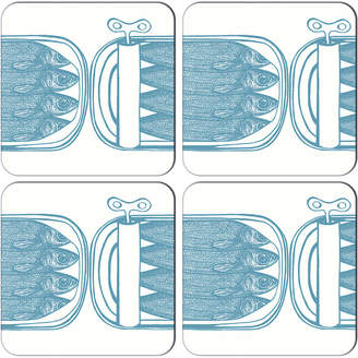 Thornback & Peel - Sardine Tins Coasters - Turquoise - Set of 4