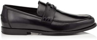 Jimmy Choo DARBLAY Shiny Calf Leather Penny Loafers with Studded Welt