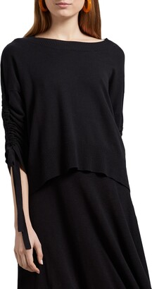 Michael Stars Cecily Ruched Sleeve Pullover