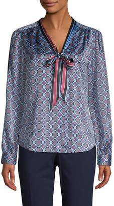 Laundry by Shelli Segal Medallion-Print Tie-Neck Blouse