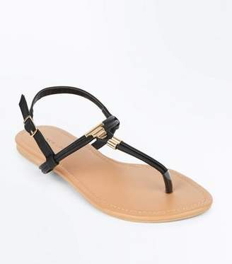 New Look Black Metal Trim Flat Sandals
