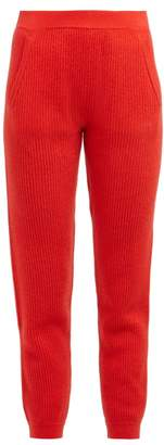 Allude Ribbed Knit Cashmere Sweatpants - Womens - Red