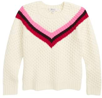 Milly Varsity Stripe Popcorn Stitch Merino Wool Sweater