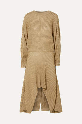Chloé Asymmetric Ribbed Lurex Midi Dress - Gold