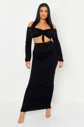 boohoo Plus Slinky Ruched Midaxi Skirt