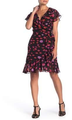 Betsey Johnson Lip Print Wrap Dress