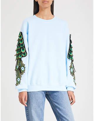 RAGYARD Peacock-embroidered cotton-jersey sweatshirt
