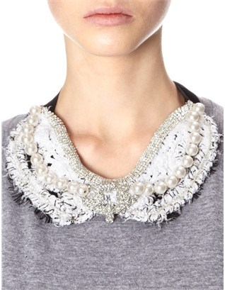 Michaela Buerger White Crochet Suzy Collar