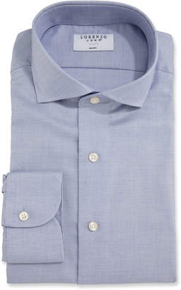 Lorenzo Uomo Men's Sharkskin Dress Shirt, Blue